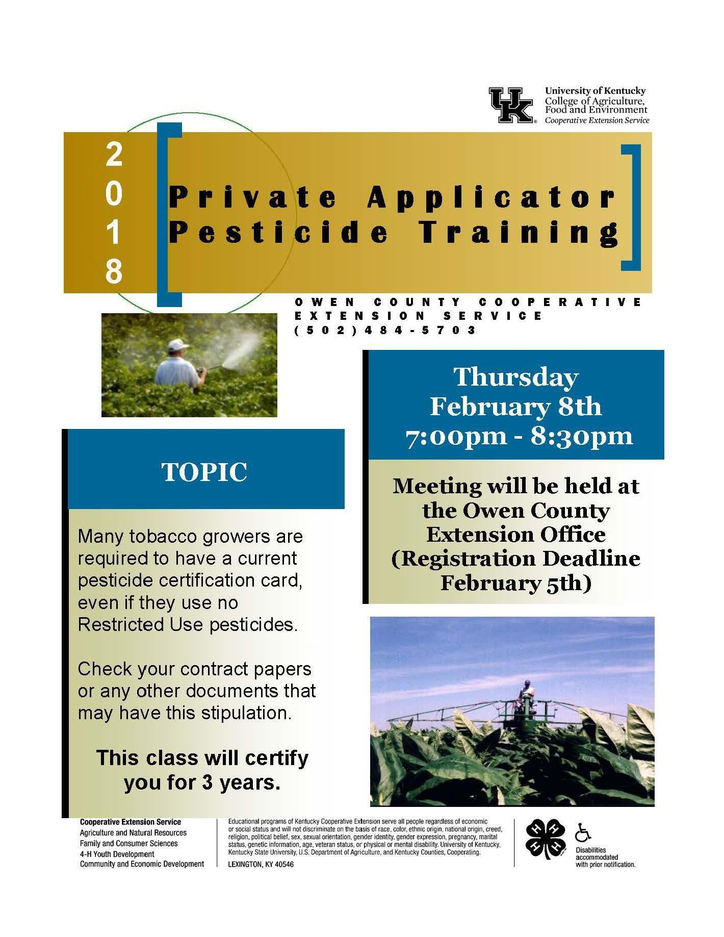 Private Pesticide Applicator Pesticide Training Flyer held on 02.08.18