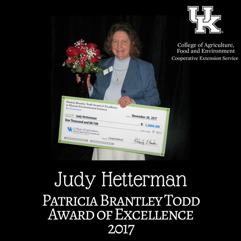Judy Hetterman Receiving the Patricia Brantley Award in 2017